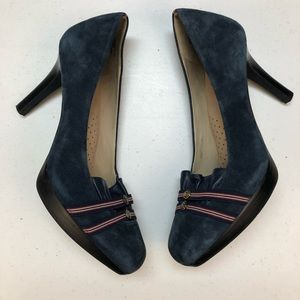 Rockport red white blue leather suede heels 9.5
